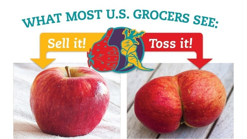 Compares perfectly formed apple and misshaped apple to illustrate what produce grocery stores will keep and throw away.
